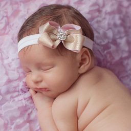 Cute Cute - Gold & Pink Ribbon Bow Headband | Childrensalon
