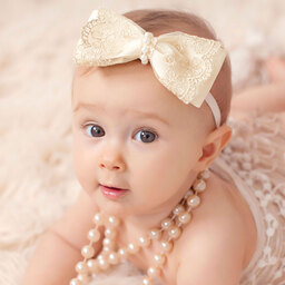 Cute Cute - Ivory & Gold Lace Bow Headband with Pearls | Childrensalon
