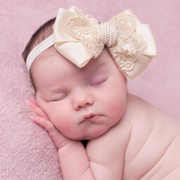 Cute Cute - Large Bow Headband in Ivory Gold & Lace | Childrensalon