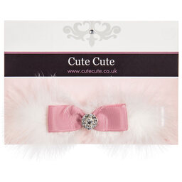 Cute Cute - White Feather & Pink Ribbon Bow Headband  | Childrensalon