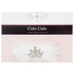 Cute Cute - White Fur & Diamanté Headband | Childrensalon