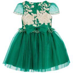 David Charles - Girls Emerald Green Dress | Childrensalon