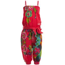 Desigual - Girls Pink Silky Satin Floral Jumpsuit | Childrensalon