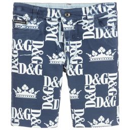 962e794469c Dolce & Gabbana - Boys Blue Cotton Logo Shorts | Childrensalon