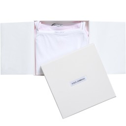Dolce & Gabbana - Girls White & Pink Vests in a Box (Pack of 2) | Childrensalon