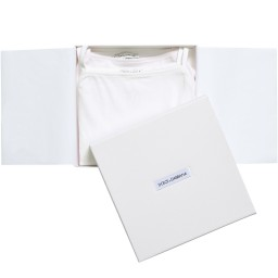 Dolce & Gabbana - Girls White Vests in a Box (Pack of 2) | Childrensalon