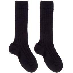 Dore Dore - Luxury Blue Wool Blend Long Socks   Childrensalon