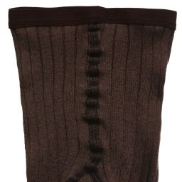 Dore Dore - Luxury Brown Cotton Ribbed Tights | Childrensalon