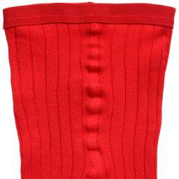 Dore Dore - Luxury Red Cotton Ribbed Tights | Childrensalon