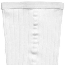 Dore Dore - Luxury White Cotton Ribbed Tights   Childrensalon