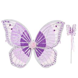 Dress Up by Design - Girls Mauve Wings & Wand | Childrensalon