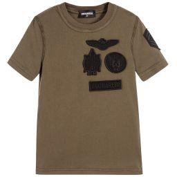 DSquared2 - Boys Khaki Logo Badge T-Shirt | Childrensalon