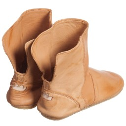 Easy Peasy - Tan Leather Slip-On 'Bobottes' Slipper Boots | Childrensalon