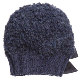 Grevi - Girls Blue Mohair Knitted Hat | Childrensalon