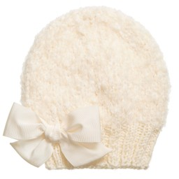 Grevi - Girls Ivory Mohair Knitted Hat | Childrensalon