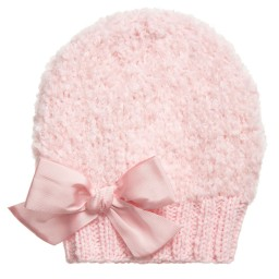 Grevi - Girls Pale Pink Mohair Knitted Hat | Childrensalon