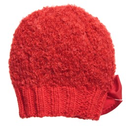 Grevi - Girls Red Mohair Knitted Hat | Childrensalon