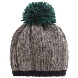 Grevi - Grey Knitted Pom-Pom Hat | Childrensalon