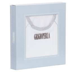 Grigio Perla - Boys White Cotton T-Shirt | Childrensalon