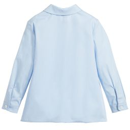 Gucci - Girls Blue Cotton Shirt | Childrensalon