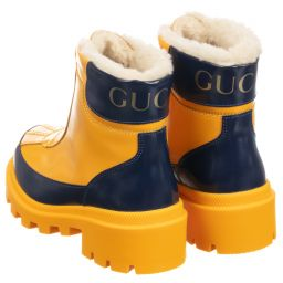 Gucci - Yellow Fur Lined Rain Boots
