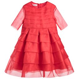 I Pinco Pallino - Girls Red Silk Organza Dress | Childrensalon