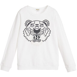 Kenzo Kids - Girls White Beaded 'Tiger' Sweatshirt  | Childrensalon