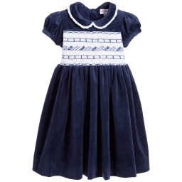 Kidiwi - Girls Blue Hand Smocked Velvet Dress  | Childrensalon