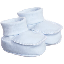 Laranjinha - Blue Cotton Jersey Baby Booties | Childrensalon
