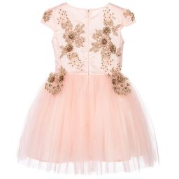 Le Mu - Girls Pink & Gold Tulle Dress | Childrensalon