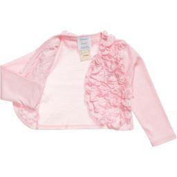 Lemon Loves Layette - Baby Girls Pale Pink Pima Cotton 'Emma' Cardigan | Childrensalon