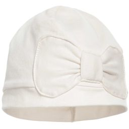 Lemon Loves Layette - Ivory Pima Cotton 'Petite Bow' Hat | Childrensalon