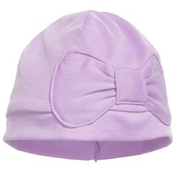 Lemon Loves Layette - Lilac Pima Cotton 'Petit Bow' Hat | Childrensalon