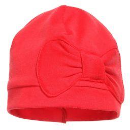 Lemon Loves Layette - Red Pima Cotton 'Petit Bow' Hat | Childrensalon
