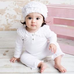 Lemon Loves Layette - White Pima Cotton 'Isabel' Baby Hat | Childrensalon