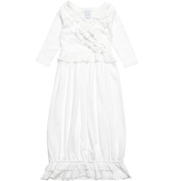 Lemon Loves Layette - White Pima Cotton 'Jenna' Day Gown | Childrensalon