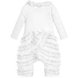 Lemon Loves Layette - White Pima Cotton 'Peony' Romper | Childrensalon
