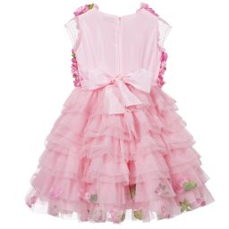 Lesy Luxury Flower - Girls Pink Tulle Dress with Flowers | Childrensalon