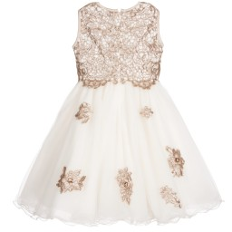 Lesy Luxury - Ivory Tulle & Gold Sequin Dress with Jewels | Childrensalon