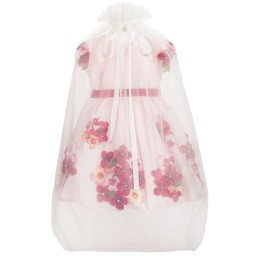 Lesy Luxury Flower - Pale Pink Satin Dress with Flowers | Childrensalon