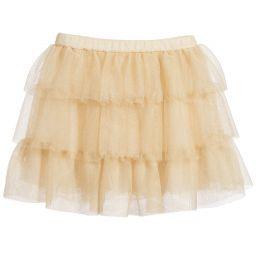 Lili Gaufrette - Girls Gold Tulle Ruffle Skirt  | Childrensalon