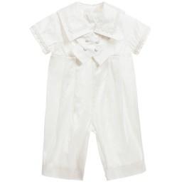 Little Darlings Occasion - Baby Boys Ivory Silk Sailor Romper Suit | Childrensalon