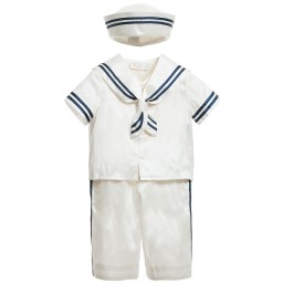 Little Darlings Occasion - Baby Boys Ivory Silk Sailor Suit & Hat | Childrensalon
