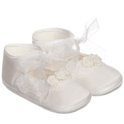 Little Darlings Occasion - Baby Girls Ivory & Lace Silk Pre-Walker Shoes | Childrensalon