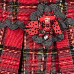 Little Darlings - Girls Red Tartan & Rose Skirt  | Childrensalon
