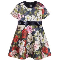 Loredana - Girls Floral Jacquard Dress | Childrensalon