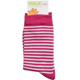 Mala - Girls Pink & White Striped Socks | Childrensalon