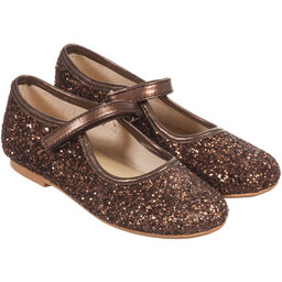 Manuela de Juan - Girls Bronze Glitter Leather Shoes | Childrensalon