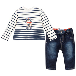 Mayoral Newborn - Baby Boys Blue Striped Outfit  | Childrensalon