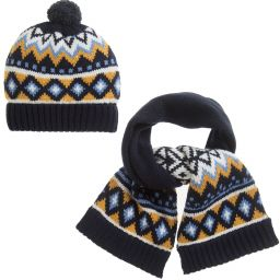 Mayoral - Baby Boys Navy Blue Hat Set | Childrensalon